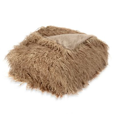 Mongolian Faux Fur Throw Blanket in Taupe