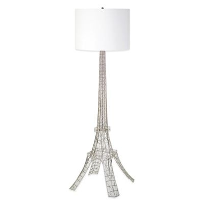 Ren-Wil Gustave Floor Lamp in Antique Silver with Linen Shade