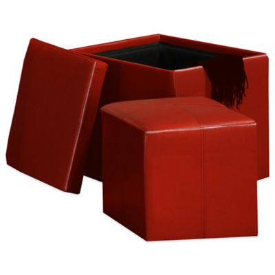 Red Leather Storage Cube