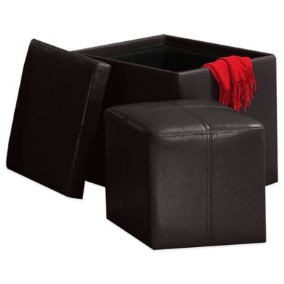 Verona Home Harden Storage Cube with Ottoman in Black