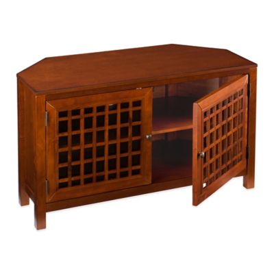 Southern Enterprises Narita Corner Media Stand in Walnut