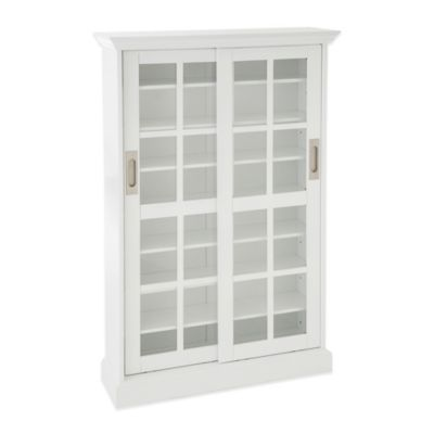Southern Enterprises Emerson Sliding Door Media Cabinet in White
