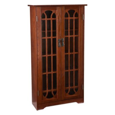 Southern Enterprises Wood Grayson Window Pane Media Cabinet in Traditional Oak