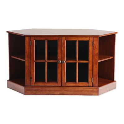 Southern Enterprises Thomas Corner Media Stand in Distressed Walnut