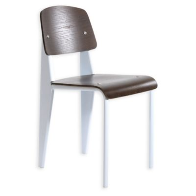 American Atelier Grant Side Chair in White/Dark Brown