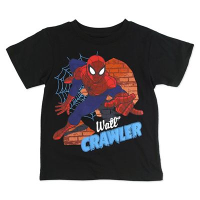 "Marvel® Size 2T Short-Sleeve Spider-Man ""Wall Crawler"" Shirt in Black/Red"