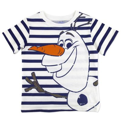 Disney® Frozen Size 2T Short-Sleeve Olaf Stripe Shirt in White/Black