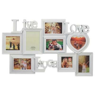 """Live, Laugh, and Love"" 8-Photo Collage Frame in White"