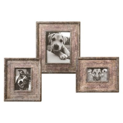 Uttermost Zana 3-Piece Distressed Frame Set in Red