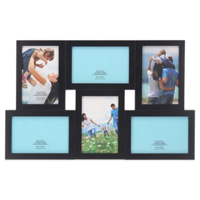 6-Photo 4-Inch x 6-Inch Abstract Collage Frame in Black