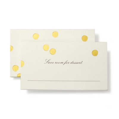 kate spade new york 12-Count Confetti Dots Place Cards in Gold