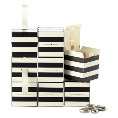 kate spade new york Stripe Favor Boxes in Black/White (Set of 8)