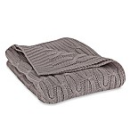 Acrylic Cable Knit Throw in Grey