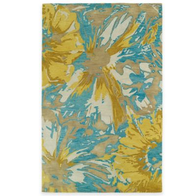 Kaleen Brushstrokes Floral 2-Foot x 3-Foot Accent Rug in Gold