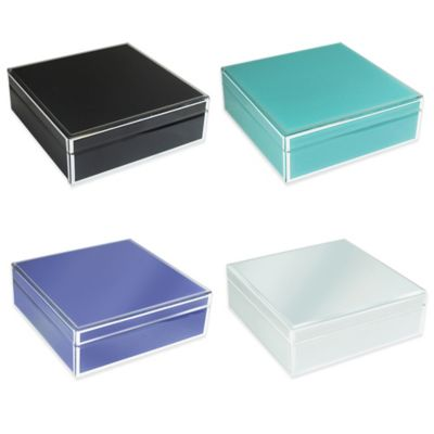 Allure by Jay Square Glass Jewelry Box in Teal