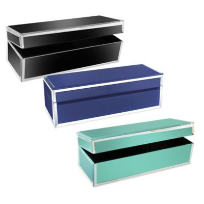 Jay Rectangle Glass Jewelry Box in Teal