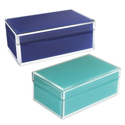 Allure by Jay Small Rectangle Glass Jewelry Box in Teal