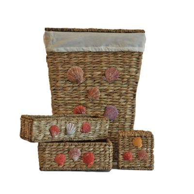 4-Piece Bangkuang Wicker Shell Hamper Bath Set