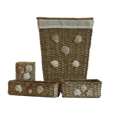 4-Piece Buri Wicker Hamper Bath Set