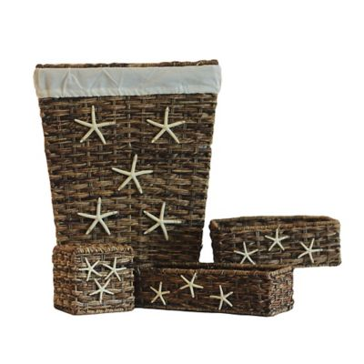 4-Piece Bacbac Wicker Starfish Hamper Bath Set