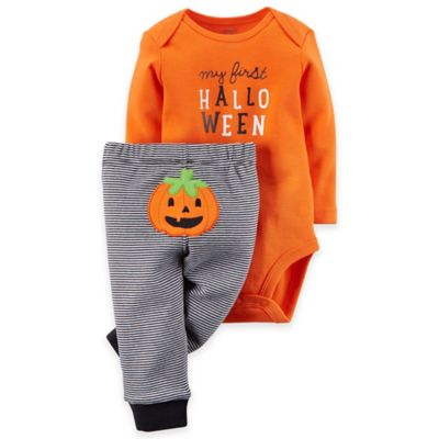"Carter's® Newborn 2-Piece ""My First Halloween"" Bodysuit and Pant Set in Orange"