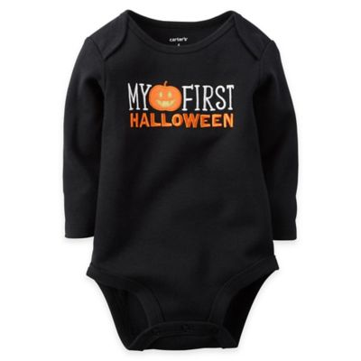 "Carter's® Size 3M ""My First Halloween"" Long Sleeve Bodysuit in Black"
