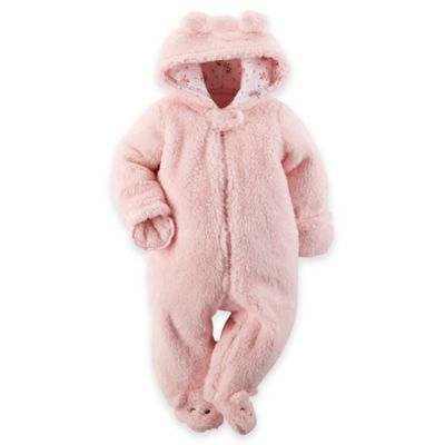 Carter's® Size 3M Hooded Sherpa Pram in Pink
