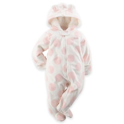 "Carter's® Size 3M ""Little Cutie"" Hooded Fleece Pram in Pink Dot"