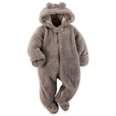 Carter's® Size 3M Hooded Sherpa Pram in Grey