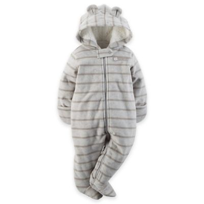 Carter's® Size 3M Hooded Fleece Pram in Grey Stripe
