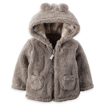 Carter's® Size 3M Hooded Sherpa Jacket in Grey