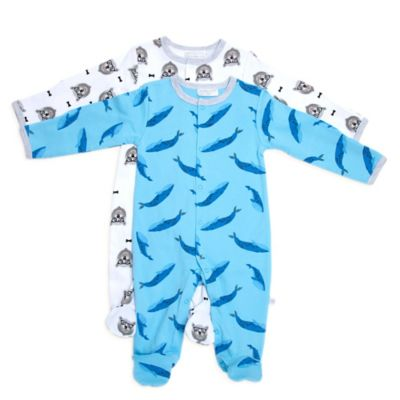 Rosie Pope® Natural History Size 0-3M 2-Pack Whale/Bear Footies