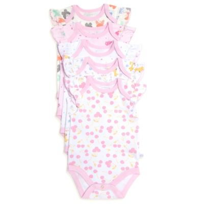 Rosie Pope® Size 0-3M 5-Pack Fairy Woods Short-Sleeve Bodysuits in Pink/White