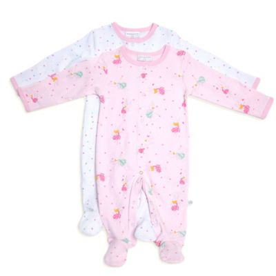 Rosie Pope® Size 0-3M 2-Pack Fairy Woods Coveralls in Pink/White