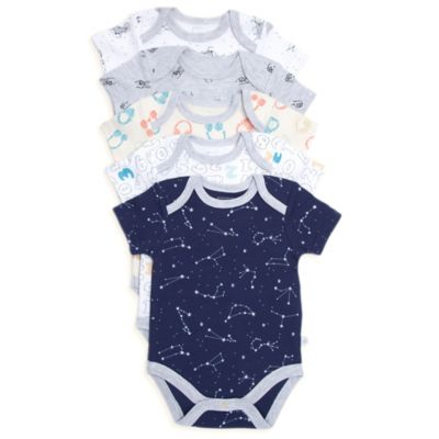 Rosie Pope® Size 0-3M 5-Pack Star Gazer Short-Sleeve Bodysuits in Blue/White