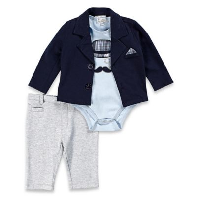Quiltex Size 0-3M 3-Piece Little Gent Blazer, Bodysuit, and Pant Set in Blue/Grey