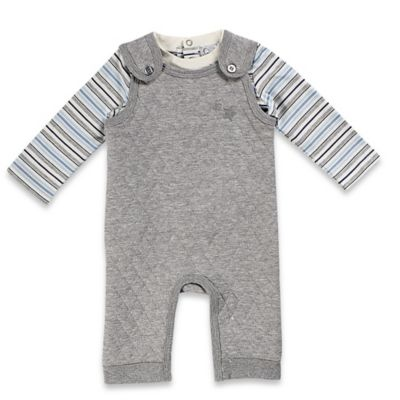 Quiltex Size 0-3M 2-Piece Quilted Overall and Striped Shirt Set in Heather Grey/Blue