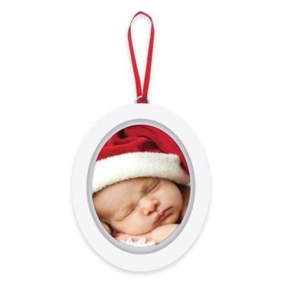 "Pearhead ""Baby's 1st Christmas"" Babyprints Photo Ornament in White"