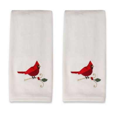 Embroidered Cardinal Scroll Hand Towels (Set of 2)