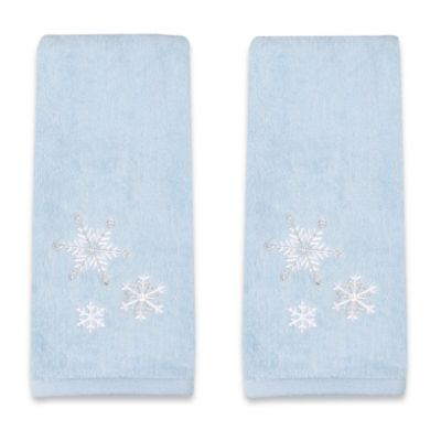 Embroidered Snowflake Hand Towels (Set of 2)