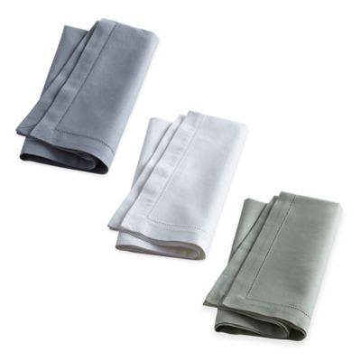 Wamsutta® Bordered Linen Napkins in Charcoal (Set of 2)