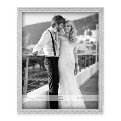 Arte De Casa 8-Inch x 10-Inch Double Row Glitter Frame in Silver
