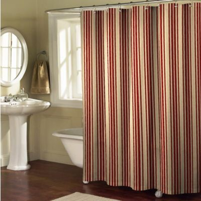 Sorrento Stripe Shower Curtain in Burgundy/Tan