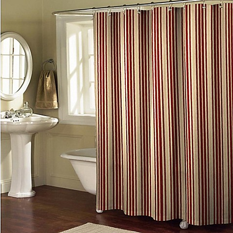 Sorrento Stripe Shower Curtain In Burgundy Tan