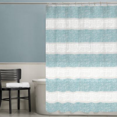 Banded Texture Shower Curtain in Blue