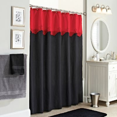 Excell Gardenia Shower Curtain in Red/Black