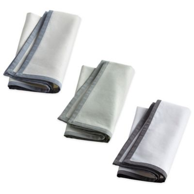Wamsutta® Bordered Linen Napkins in Grey (Set of 2)