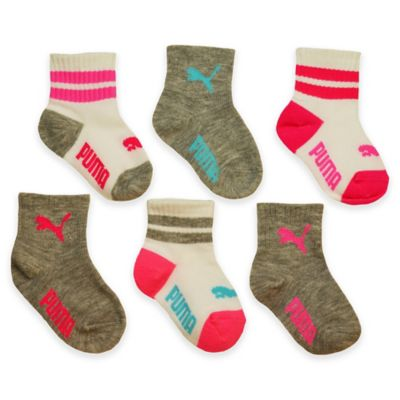 Puma Girls Size 0-12M 6-Pack Sport Lifestyle Socks in Grey/Pink