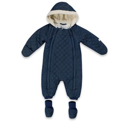 Quiltex Size 3-6M Chambray/Sherpa/Jersey Quilted Hooded Pram in Navy