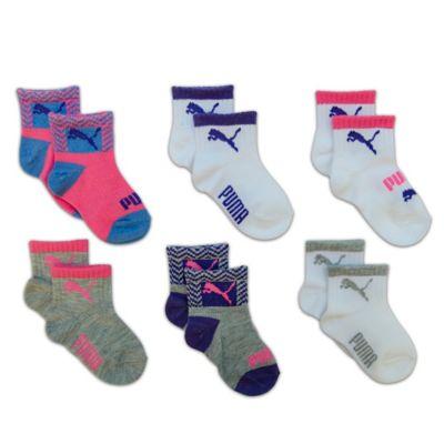 Puma® Size 12-24M 6-Pack Socks in Pink/Blue